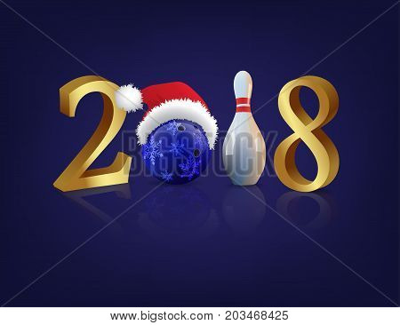 Vector 2018 New Year template. Bowling 2018 New Year sign with bowling ball and skittle on blue background.