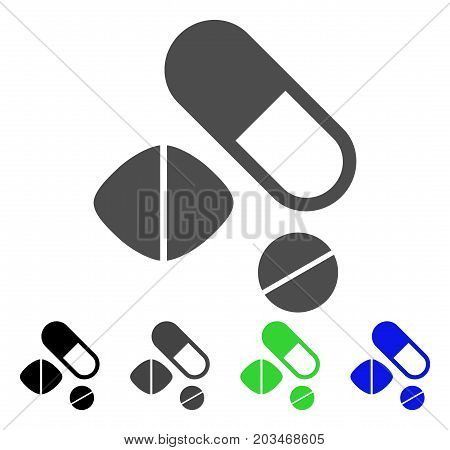 Medication Pills icon. Vector illustration style is a flat iconic medication pills symbol with black, grey, green, blue color versions. Designed for web and software interfaces.