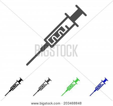 Vaccine icon. Vector illustration style is a flat iconic vaccine symbol with black, grey, green, blue color versions. Designed for web and software interfaces.