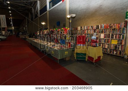 MAASTRICHT NETHERLANDS - JANUARY 09 2015: Exhibition Pavilion. Sale of specialized literature on repair and maintenance of vehicles. International Exhibition InterClassics & Topmobiel 2015