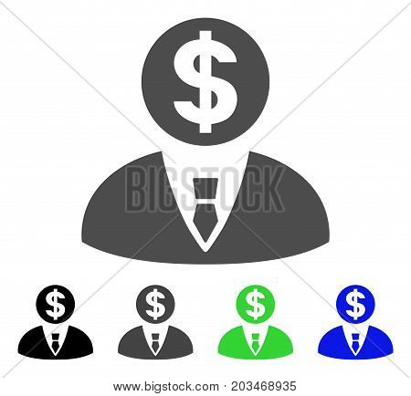 Banker icon. Vector illustration style is a flat iconic banker symbol with black, gray, green, blue color versions. Designed for web and software interfaces.