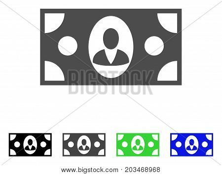 Banknote icon. Vector illustration style is a flat iconic banknote symbol with black, gray, green, blue color versions. Designed for web and software interfaces.