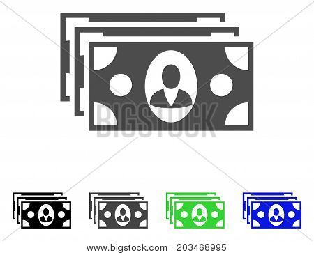 Banknotes icon. Vector illustration style is a flat iconic banknotes symbol with black, gray, green, blue color variants. Designed for web and software interfaces.