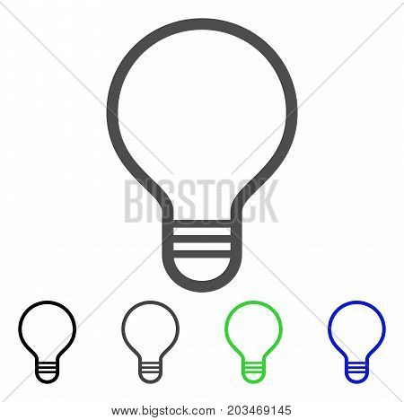 Bulb icon. Vector illustration style is a flat iconic bulb symbol with black, grey, green, blue color variants. Designed for web and software interfaces.