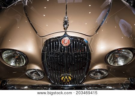 MAASTRICHT NETHERLANDS - JANUARY 09 2015: Fragment of a sports saloon Jaguar S-Type 1965. International Exhibition InterClassics & Topmobiel 2015