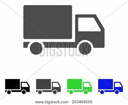 Delivery Lorry icon. Vector illustration style is a flat iconic delivery lorry symbol with black, gray, green, blue color versions. Designed for web and software interfaces.
