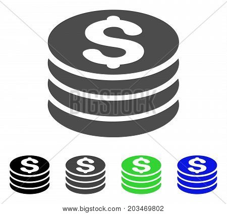Dollar Coin Stack icon. Vector illustration style is a flat iconic dollar coin stack symbol with black, grey, green, blue color versions. Designed for web and software interfaces.
