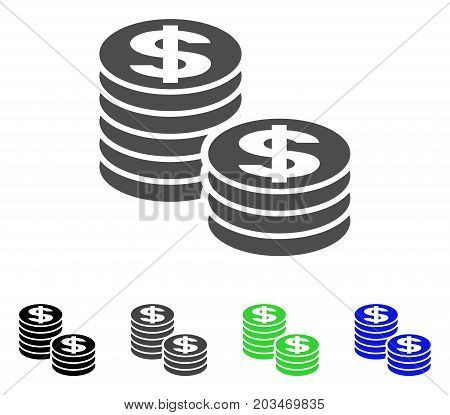 Dollar Coin Stacks icon. Vector illustration style is a flat iconic dollar coin stacks symbol with black, gray, green, blue color versions. Designed for web and software interfaces.