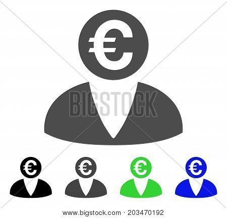 Euro Banker icon. Vector illustration style is a flat iconic euro banker symbol with black, gray, green, blue color variants. Designed for web and software interfaces.