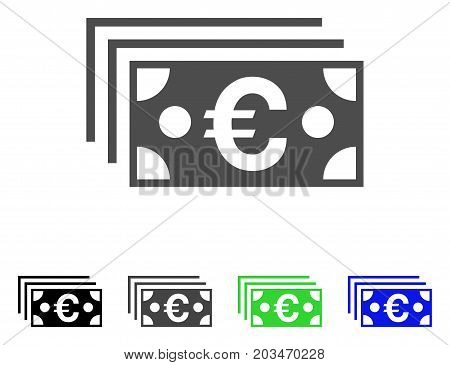 Euro Banknotes icon. Vector illustration style is a flat iconic euro banknotes symbol with black, gray, green, blue color variants. Designed for web and software interfaces.