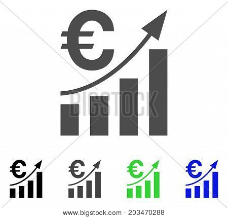 Euro Bar Chart Trend icon. Vector illustration style is a flat iconic euro bar chart trend symbol with black, gray, green, blue color variants. Designed for web and software interfaces.