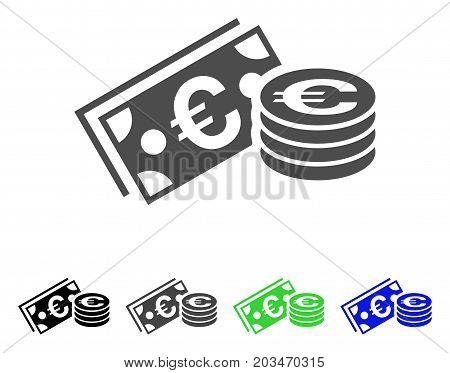 Euro Cash icon. Vector illustration style is a flat iconic euro cash symbol with black, grey, green, blue color versions. Designed for web and software interfaces.