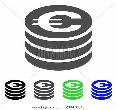 Euro Coin Column icon. Vector illustration style is a flat iconic euro coin column symbol with black, gray, green, blue color versions. Designed for web and software interfaces.