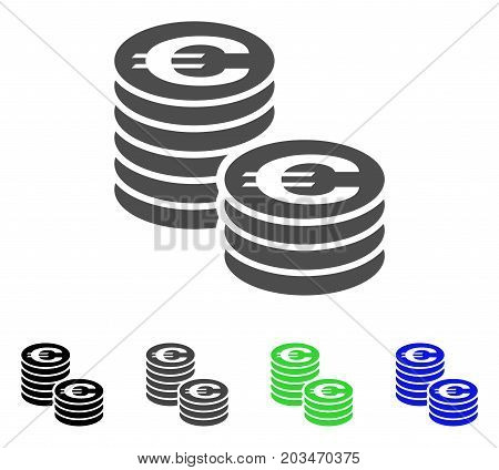 Euro Coin Columns icon. Vector illustration style is a flat iconic euro coin columns symbol with black, grey, green, blue color variants. Designed for web and software interfaces.