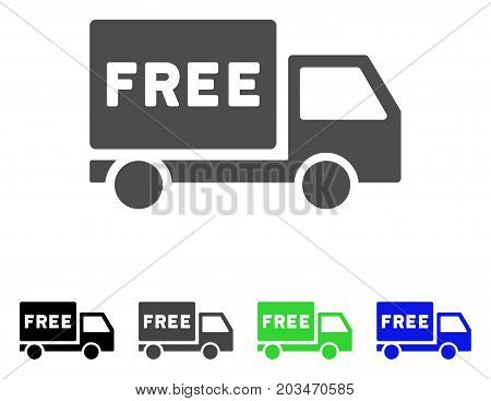 Free Delivery icon. Vector illustration style is a flat iconic free delivery symbol with black, grey, green, blue color variants. Designed for web and software interfaces.