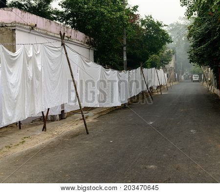 Dhobi Ghat - traditional laundry in India. New Delhi.