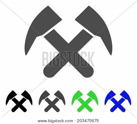 Job Hammers icon. Vector illustration style is a flat iconic job hammers symbol with black, gray, green, blue color versions. Designed for web and software interfaces.