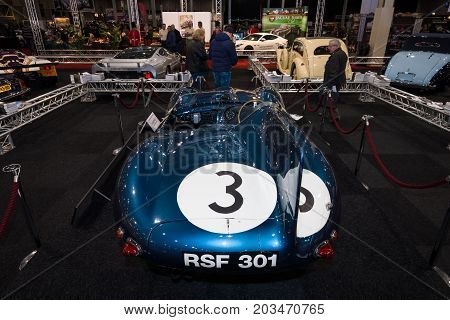 MAASTRICHT NETHERLANDS - JANUARY 09 2015: Sports racing car Jaguar D-Type (number of chassis: XKD606 winner of the 1957 Le Mans 24 Hours race) 1956. International Exhibition InterClassics & Topmobiel 2015