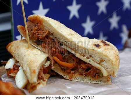 Pulled Pork Sandwich Over American Flag