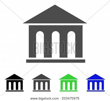 Museum Building icon. Vector illustration style is a flat iconic museum building symbol with black, grey, green, blue color versions. Designed for web and software interfaces.