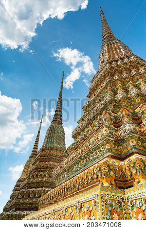 Colorful Chedi In Wat Pho