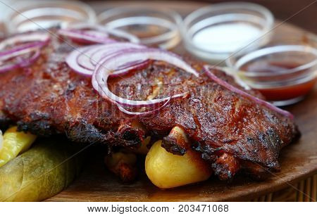 Rack Of Grill Roasted Pork Spare Ribs Close Up
