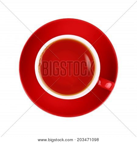 Full Red Cup Of Black Tea Isolated On White