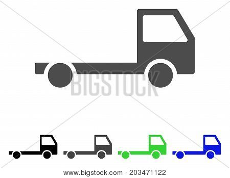 Truck Chassis icon. Vector illustration style is a flat iconic truck chassis symbol with black, gray, green, blue color variants. Designed for web and software interfaces.