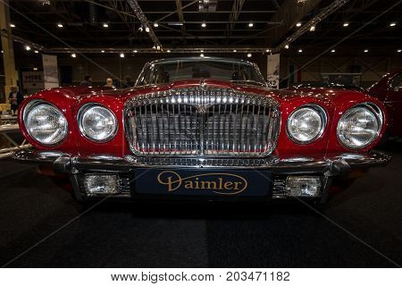 MAASTRICHT NETHERLANDS - JANUARY 09 2015: Luxury car Daimler Sovereign Double-Six Serie 2 LWB 1973. International Exhibition InterClassics & Topmobiel 2015