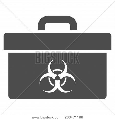 Biohazard Toolbox vector icon. Style is flat graphic gray symbol.