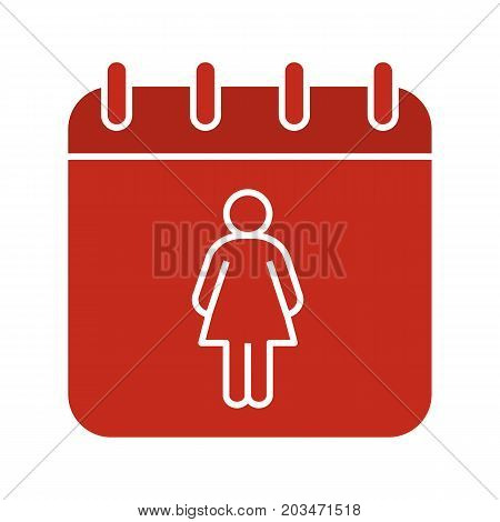 International Women's Day glyph color icon. Calendar page with woman. Silhouette symbol on black background. Menstrual period calendar. Negative space. Vector illustration