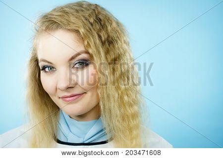 Woman Wearing Hairdressing Collar