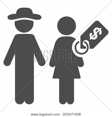 Marriage Of Convenience vector pictogram. Style is flat graphic grey symbol.