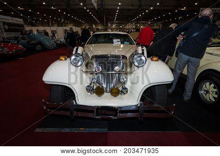MAASTRICHT NETHERLANDS - JANUARY 09 2015: A wedding limousine neo-classic car Cmc Tiffany built based on modern cars Ford. International Exhibition InterClassics & Topmobiel 2015
