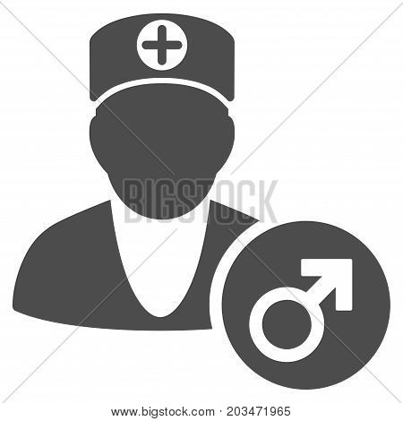 Urology Doctor vector pictogram. Style is flat graphic grey symbol.