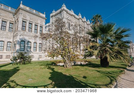Istanbul Turkey - Entrance to Dolmabahce palace built by sultan in 18th century luxury home of sultans and later Ataturk.