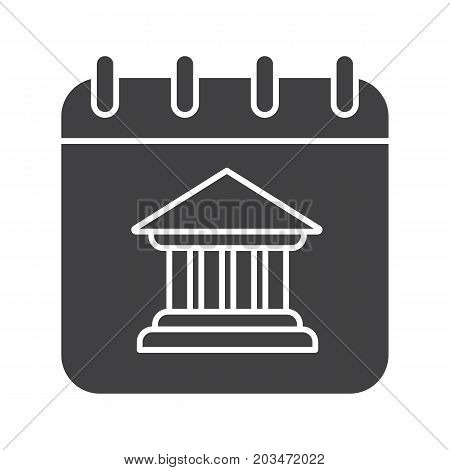 Calendar or notepad page with bank building. Glyph icon. Silhouette symbol. Negative space. Vector isolated illustration