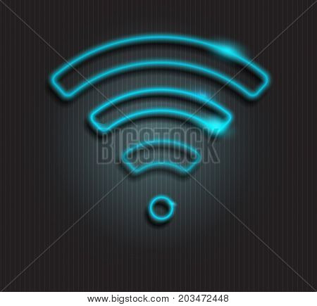 Neon sign wi-fi. Icon wi-fi. LED sign, LED banner. Free wi-fi. LED sign, LED banner. Vector neon light