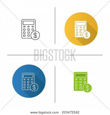 Calculations icon. Flat design, linear and color styles. Calculator with dollar sign. Financial planning. Isolated vector illustrations