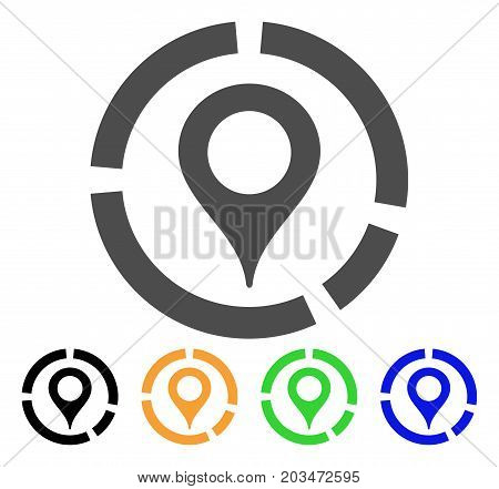 Map Marker Diagram icon. Vector illustration style is a flat iconic map marker diagram symbol with black, grey, green, blue, yellow color variants. Designed for web and software interfaces.