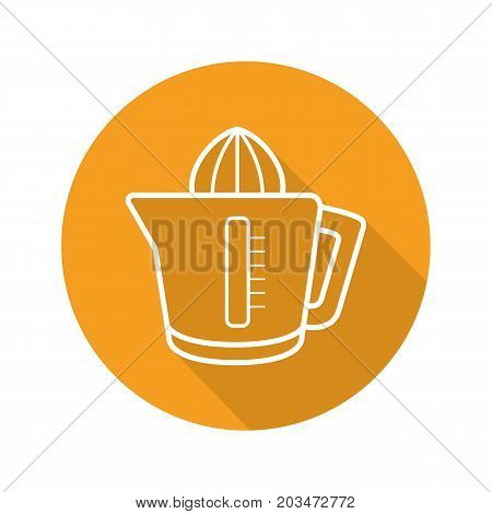 Juicer flat linear long shadow icon. Squeezer. Vector outline symbol