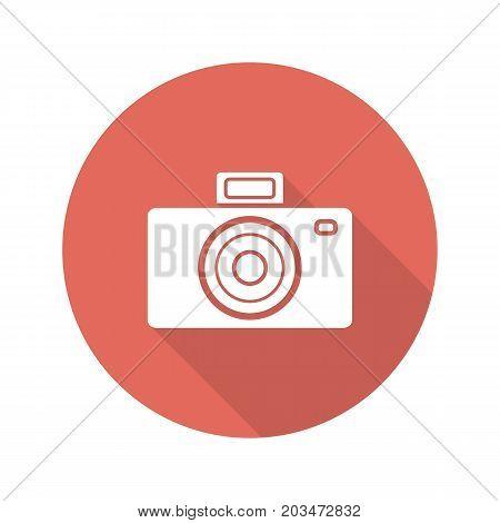Photo camera flat design long shadow glyph icon. Slr vintage photocamera. Vector silhouette illustration