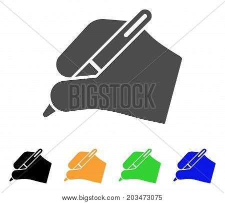 Signature Hand icon. Vector illustration style is a flat iconic signature hand symbol with black, gray, green, blue, yellow color versions. Designed for web and software interfaces.