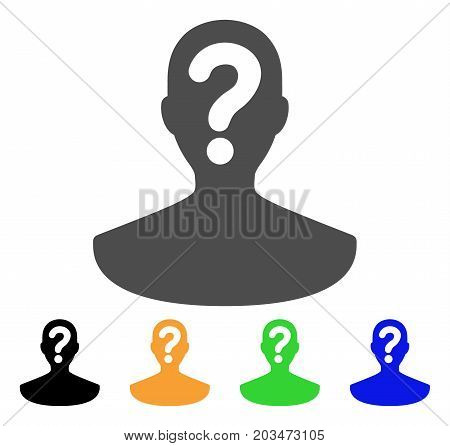 Unknown Person icon. Vector illustration style is a flat iconic unknown person symbol with black, gray, green, blue, yellow color versions. Designed for web and software interfaces.