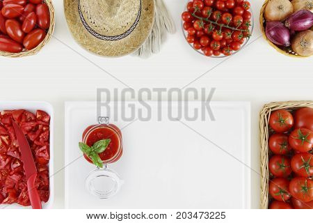 tomato sauce food above concept with many fresh tomatoes and cutting boards on kitchen white worktop copy space top view
