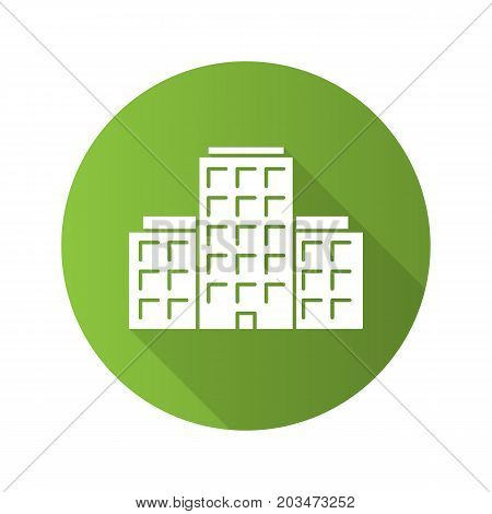 Multi-storey building flat design long shadow glyph icon. Apartment house. Tower block. Vector silhouette illustration