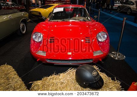 MAASTRICHT NETHERLANDS - JANUARY 09 2015: Sports car Ferrari Dino 246 GT. International Exhibition InterClassics & Topmobiel 2015