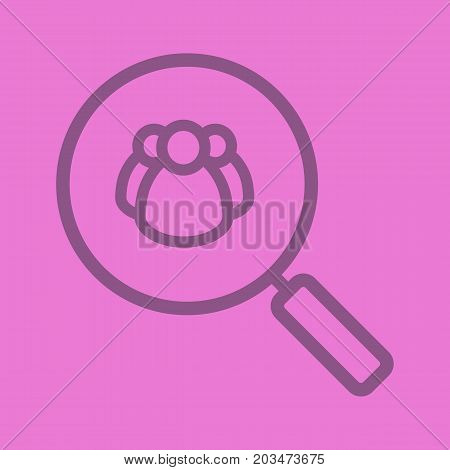 HR management. Human resources linear icon. Magnifying glass with people. Thick line outline symbols on color background. Vector illustration