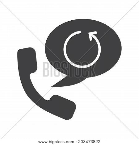 Call back service glyph icon. Silhouette symbol. Handset with cycling arrow inside speech bubble. Negative space. Vector isolated illustration