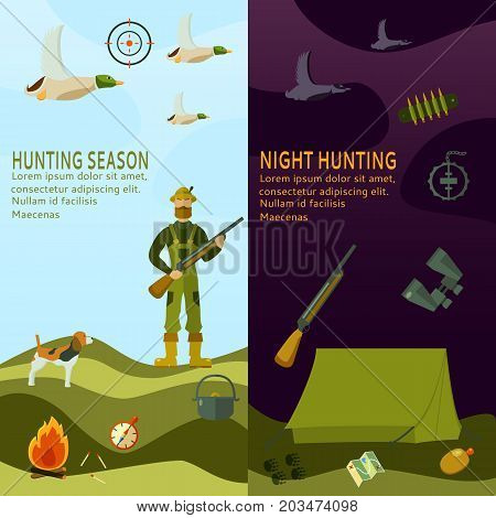 Hunting equipment hat, hunter, shotgun, boots, patronage, back, fire, dog, map. Horisontal banner. Vector illustration